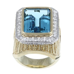 Kabella 14k Yellow Gold Blue Topaz and 4/5ct TDW Diamond Ring