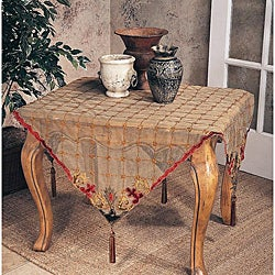 Embroidered Velvet 40-inch Square Tablecloth