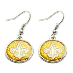 Stainless Steel New Orleans Saints NFL Dangle Earrings