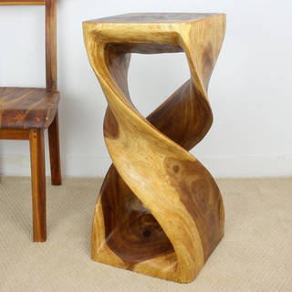Monkey Pod Wood Double Twist Walnut Oil Stool (Thailand)