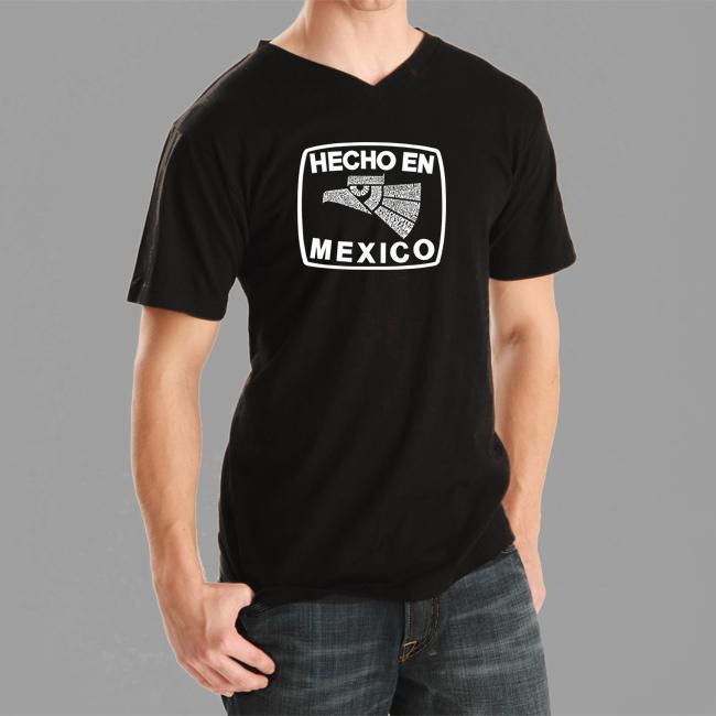 Los Angeles Pop Art Mens Hecho en Mexico V neck Tee