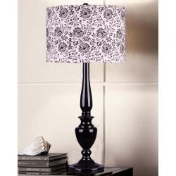 Floral Glossy Black Table Lamp