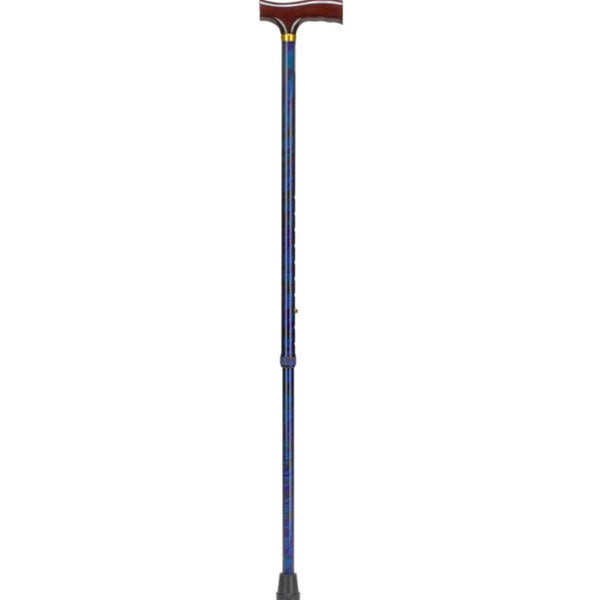 Adjustable 'Cyclone Blue' Wood Derby Top Handle Cane