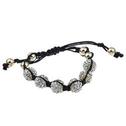 Celeste Goldtone Clear Crystal Beaded Black Cord Macrame Bracelet