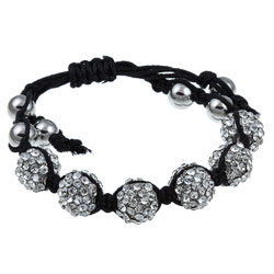 Celeste Silvertone Clear Crystal Beaded Black Cord Macrame Bracelet