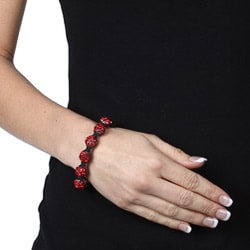 Celeste Gunmetal Red Pave Crystal Beaded Black Cord Macrame Bracelet
