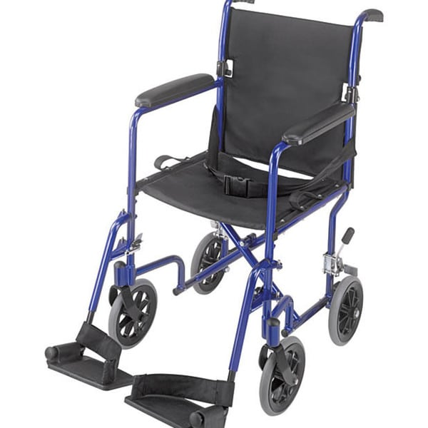 Mabis 19 Inch Ultra Lightweight Royal Blue Aluminum Transport Chair