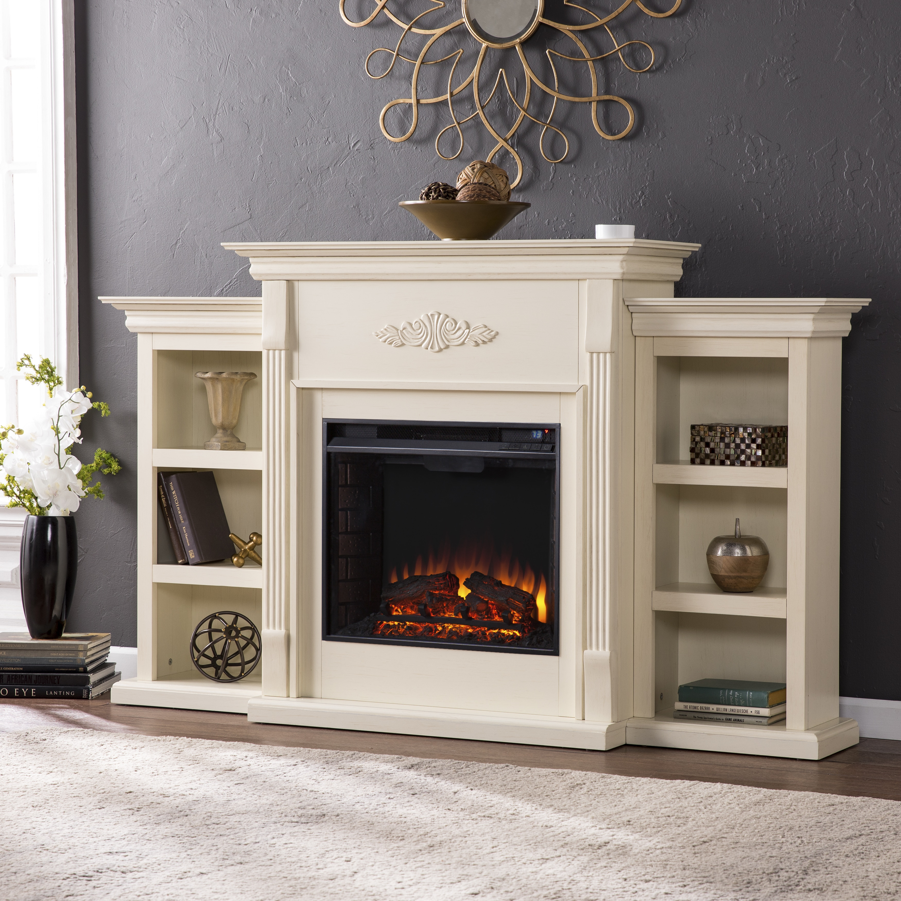 ivory electric fireplace tv stand w shelves fits 42. Black Bedroom Furniture Sets. Home Design Ideas