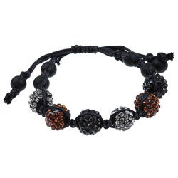 Celeste Gunmetal Multi-colored Crystal Beaded Black Macrame Bracelet