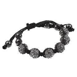 Celeste Gunmetal Black Crystal Beaded Black Cord Macrame Bracelet