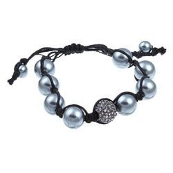 Celeste Gunmetal Black Crystal Adjustable Macrame Beaded Bracelet