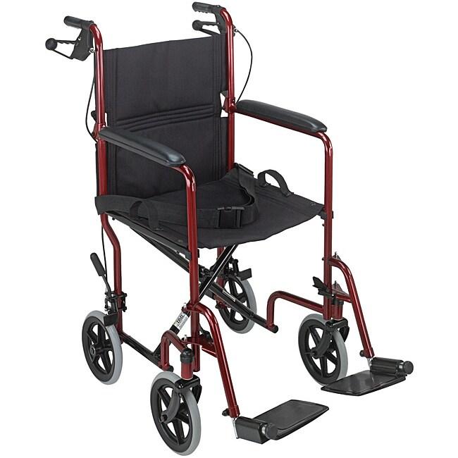 Mabis Burgundy Folding Steel Transport Chair