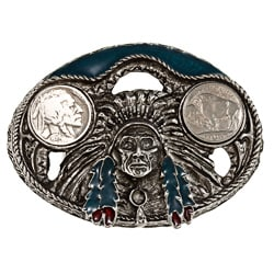 American Coin Treasures Buffalo Nickel Enamel Belt Buckle