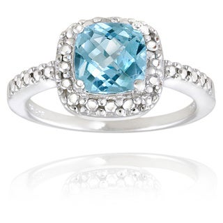 Glitzy Rocks Sterling Silver Square Cushion-cut Gemstone and Diamond Accent Ring