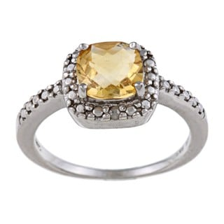 Glitzy Rocks Sterling Silver 1 5/8 CTW Citrine and Diamond Accent Square Ring