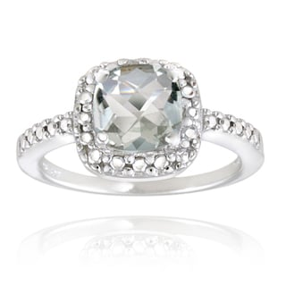 Glitzy Rocks Silver Light Green Amethyst and Diamond Accent Square Ring