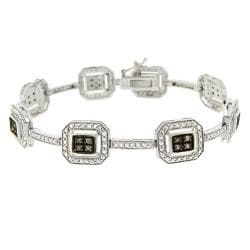 DB Designs Sterling Silver 1/3ct TDW Brown Diamond Link Bracelet