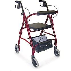 Mabis Burgundy Adjustable Seat Height Aluminum Rollator