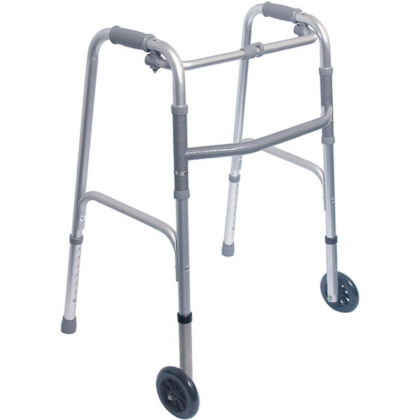 "Mabis Healthcare Single Release Folding Walker with 5"" Wheels"