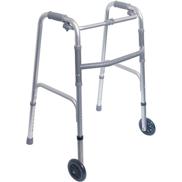 """Mabis Healthcare Single Release Folding Walker with 5"""" Wheels"""