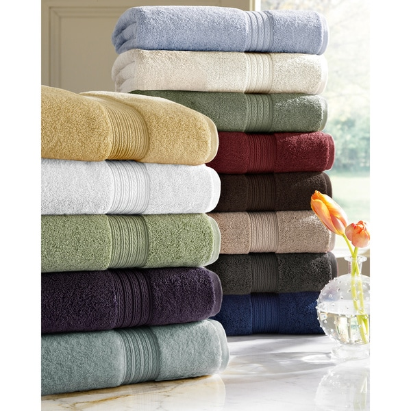 Absorbent Two-ply Long Staple Cotton Solid-colored 6-piece Towel Set