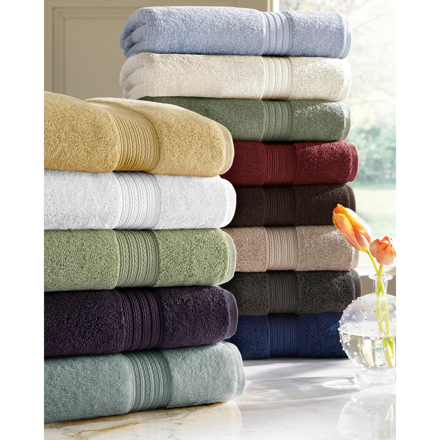 Absorbent Six-piece Two-ply Egyptian Cotton Solid-colored Towel Set at Sears.com