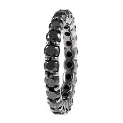 14k White Gold 3ct TDW Black Diamond Eternity Band