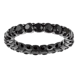 14k White Gold 3ct TDW Black Diamond Eternity Ring
