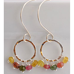 Silver and Multi-color Tourmaline Earrings