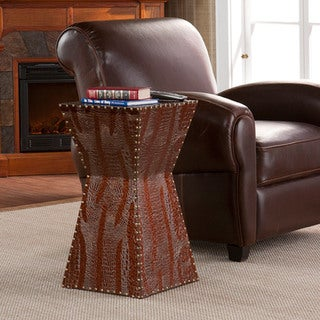 Upton Home Yuko Faux Brown Leather Accent Table