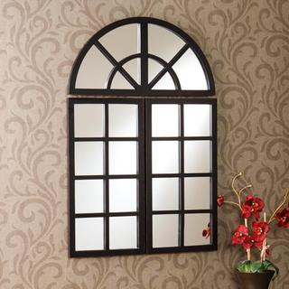 Harmony Distressed Black Windowpane Mirror