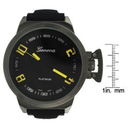 Geneva Men's 'Platinum' Round Face Silicone Watch
