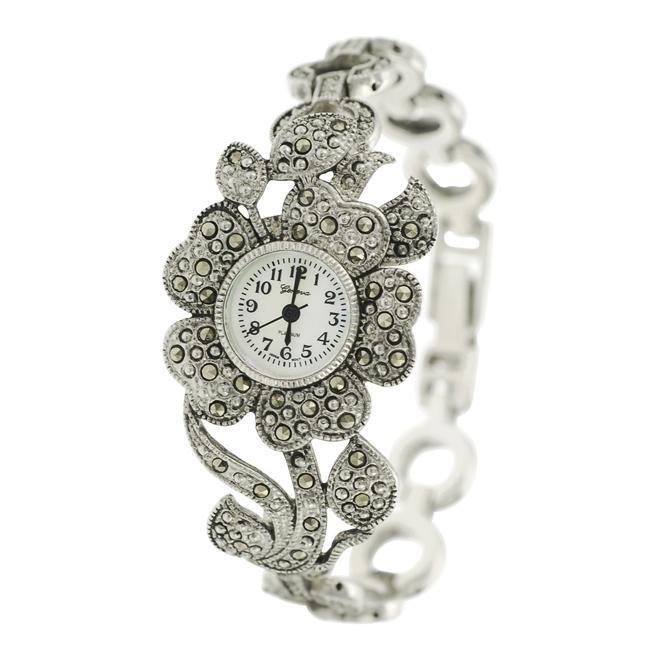 Geneva Women's 'Platinum' Created Marcasite Flower Watch