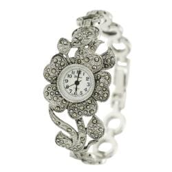 Geneva Women's 'Platinum' Created Marcasite Flower Watch
