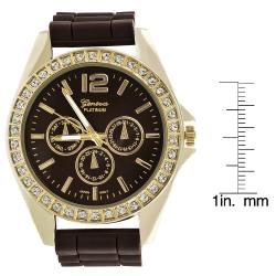 Geneva Women's 'Platinum' Brown Chronograph-style Silicone Watch