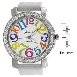 Geneva Women's 'Platnium' Large Round Face White Silicone Strap Watch