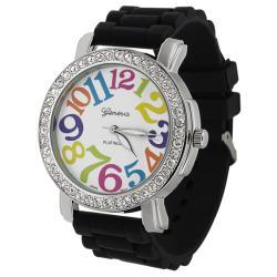 Geneva Women's 'Platnium' Large Round Face Silicone Watch
