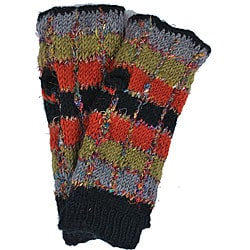 Wool and Recycled Silk Multi-color Arm Warmers (Nepal)