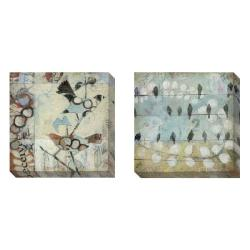 Judy Paul 'Loopy Birds' Set of 2 Gallery Wrapped Canvas Art Set