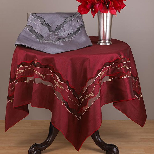Embroidered Silk and Organza Tablecloth