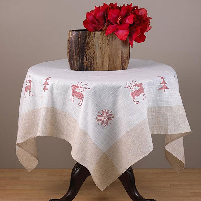 Red Embroidered Holiday Square Tablecloth 36x36 Inches