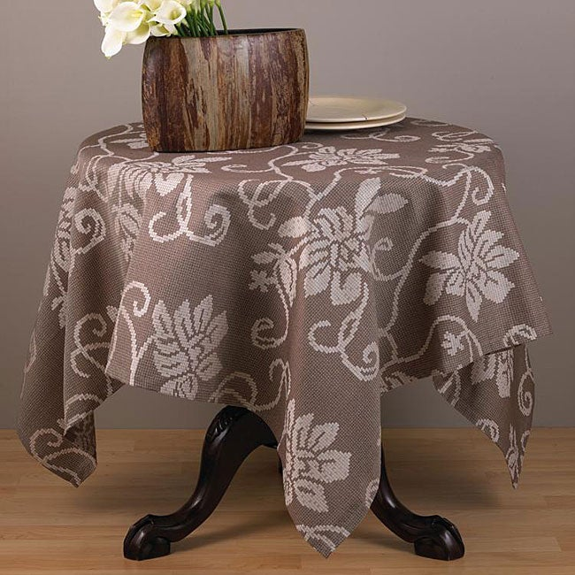 Cappuccino Floral 60-inch Square Tablecloth at Sears.com