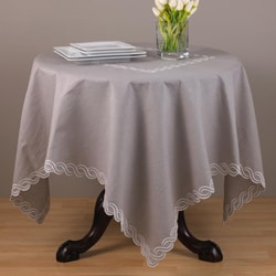 Embroidered Taupe 40-inch Square Tablecloth