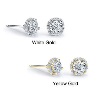 14k Gold 1/2ct TDW Diamond Halo Stud Earrings