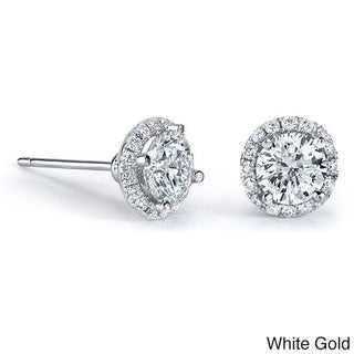 14k Gold 1/2ct TDW Diamond Halo Stud Earrings (I-J, I1-I2)