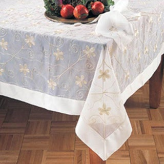 Sheer Embroidered Square Tablecloth