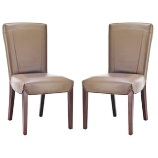 Safavieh Bowery Brown Clay Leather Side Chairs (Set of 2)