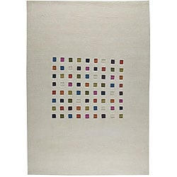 Hand-knotted 'Mosa' Natural Geometric Wool Rug (4'6 x 6'6)