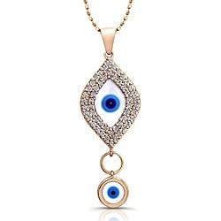 14k Yellow Gold 1/3ct TDW Diamond Evil Eye Necklace (I-J, I2-I3)