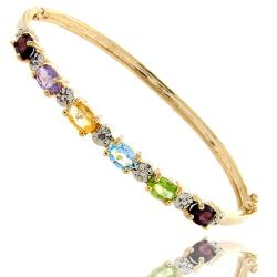 Dolce Giavonna Gold over Silver Multi-gemstone and Diamond Accent Bangle Bracelet